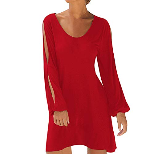(WOCACHI Womens Beach Dresses O-Neck Hollow Out Sleeve Solid Mini Dress Sundress Under 5 Dollars Under 10 Dollar Pleated Elegant Sexy Plus Size Holiday)