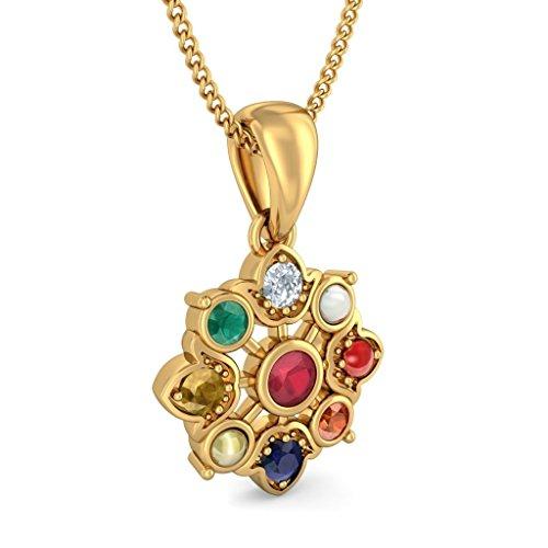 Or jaune 18K 0,07ct tw Round-cut-diamond (IJ | SI) et rubis et Navaratna Pendentif