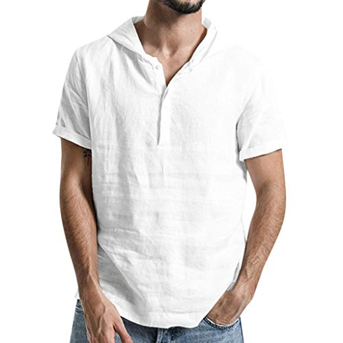 Fastbot Men Shirts Short Sleeve Polo Shirt Slim fit Baggy Cotton Linen Solid Color Hooded Tops Blouse White