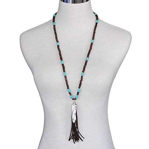 Women New Style Boutique Stylish Wood Beaded& Cotton String Fringe Tassel Long Necklace Silver