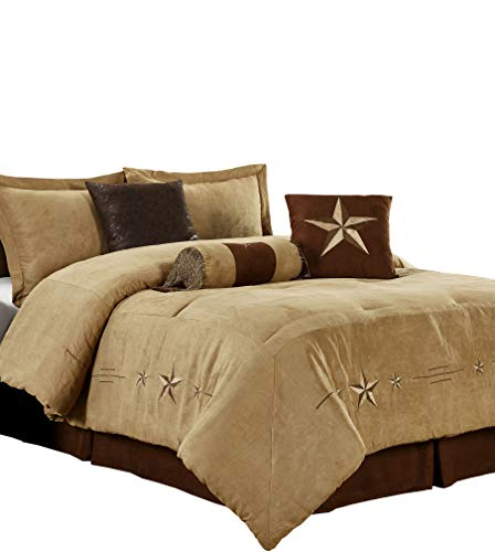 - Chezmoi Collection Laredo 7 Pieces Western Star Embroidery Design Microsuede Bedding Oversized Comforter Set (King 108