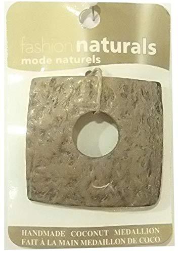 (Natural Coconut Beads Pendant Medallion Handmade Square Shape - Natural Color Finish)