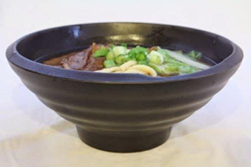 Lucky Star Melamine Round Bowls Ramen Pho Noodle Soup Wonton Soup Bowl, 8.75'' (56 oz), Black, Swirl Shaped (24) by Lucky Star