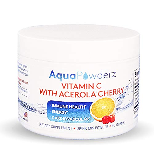 AquaPowderz Vitamin C Powder from Pure Ascorbic Acid w/Acerola Cherry, 2000 mg, Gluten Free - Immune Health, Energy, Cardiovascular Support