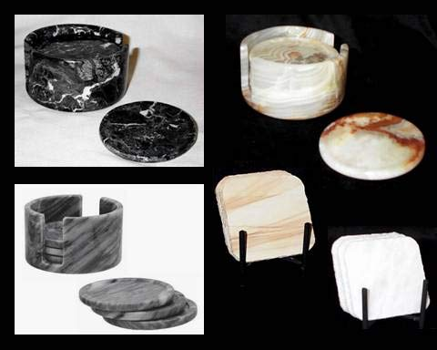 Extra Large Black Marble Coasters, Set of 6 Stone Drink Coasters with Holder