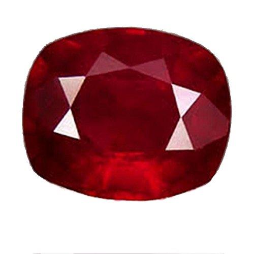 GEMS HUB Ruby (Manik/Manak) Cushion 5.25 Carat Certified Natural Rashi Ratan Gemstone