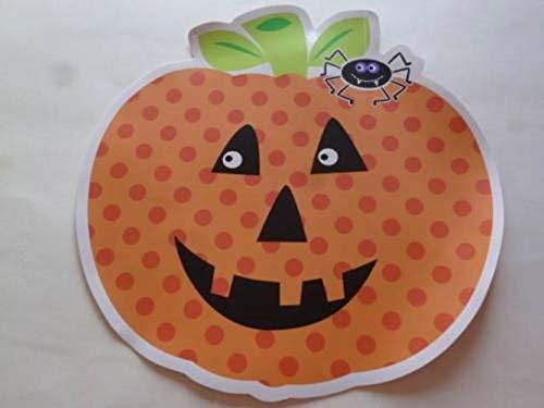 tokoprises Halloween Vinyl Placemat Polka Dot Smiling Pumpkin