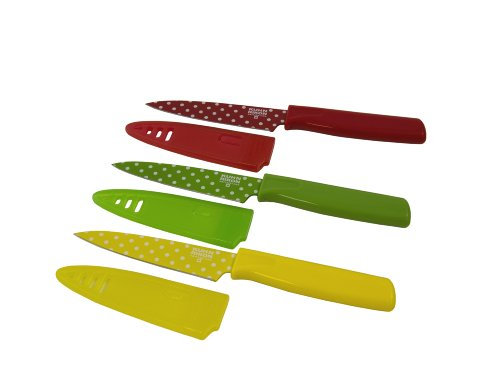 Kuhn Rikon Colori Art Paring Knife, Red/Green/Yellow Polka Dot, Set of 3