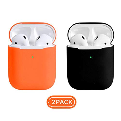 Coffea AirPods Case, 0.8mm Ultra Thin Soft Cover Skin Silicone Case for Apple AirPods 2 & 1 [Front LED Visible] (Orange+Black)