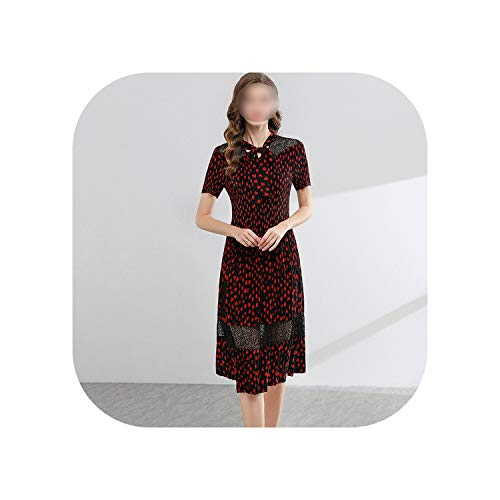 Skirt Woman Summer Dresses Necklace Hollow Short Sleeve Clothes,Red,One Size