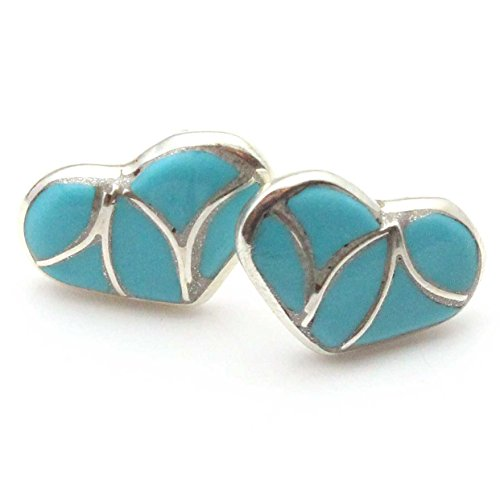 Sterling Channel Inlay - Zuni Channel Inlay Turquoise Post Heart Earring Handcrafted By Theresa Leekya