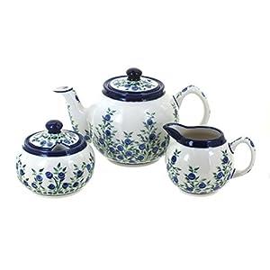 Blue Rose Polish Pottery Porcelain Vine 3 PC Tea Set