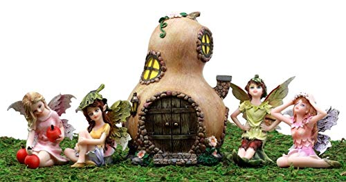 Ky & Co YK Fairy Garden Miniatures Starter Kit Halloween Gourd Cottage & 4 Fairy Figurines