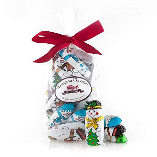 Christmas Chocolate Snowman Wrapped In Colorful Italian Foil - 1 Pound of Snowmen Thompson Premium Milk Chocolate