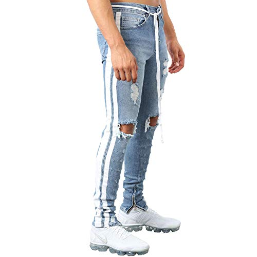 - Camolteni Men's Skinny Double Striped Distressed Track Denim Jeans V2 in Blue Milano