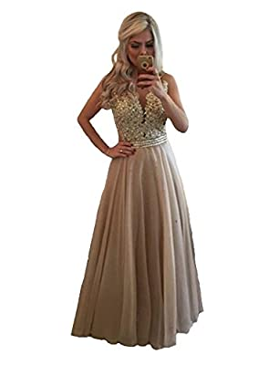 Danadress Women's 2017 Chiffon Lace Beaded Evening Dresses Sexy Long Prom Dress 32