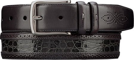 Mezlan Mens Genuine Crocodile & Italian Calfskin, GREY, 40 (AO9654) (Mezlan Crocodile Belt)