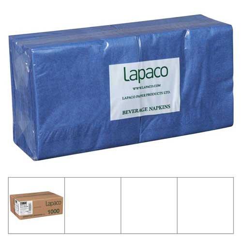 Lapaco Plain 2 Ply Navy Blue Beverage Napkin - 1000 per case.