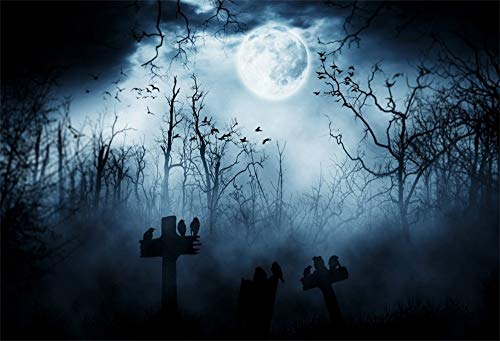 AOFOTO 10x8ft Moon Night Halloween Cemetery Photography Backdrop Flying Bats Birds Stand on Gravestone Cross Graveyard in Dark Forest Photo Background Cloth Vinyl Wallpaper Photo Studio Props ()