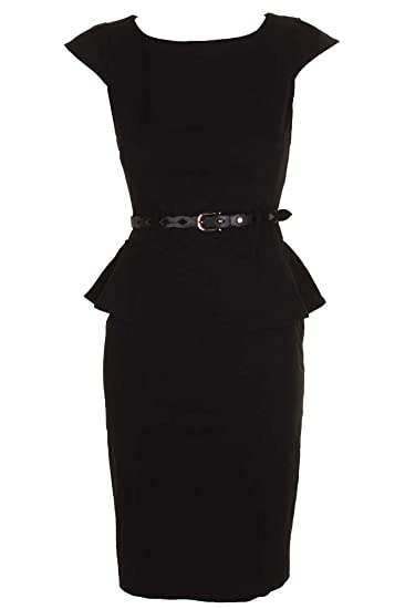 Amazon Xoxo Womens Juniors Black Cap Sleeve Belted Peplum