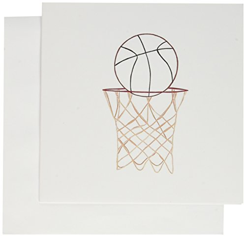 3dRose Basketball Hoop Net Outline Art Drawing - Greeting Cards, 6 x 6 inches, set of 6 (gc_20912_1)