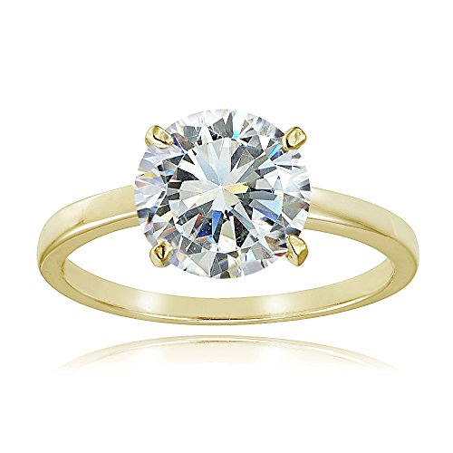 Yellow Gold Flash Sterling Silver 3ct Cubic Zirconia 9mm Round Solitaire Ring
