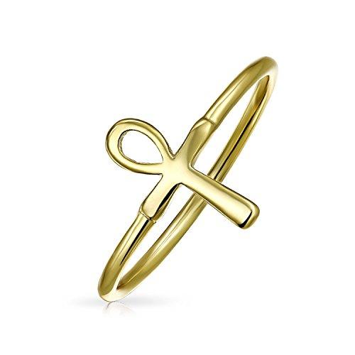 Fina Chapado en oro 925plata de ley Ankh Cruz Midi anillo