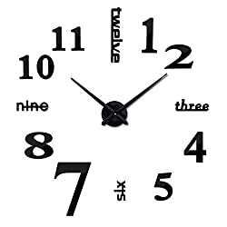 LOOYUAN Modern 3D Frameless Large Wall Clock Style Watches Hours DIY Room Home Decoration Mirror Surface