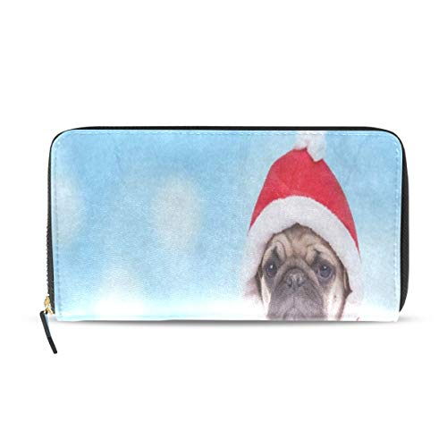 Womens Wallets Cute Pug Puppy Wearing Santa Claus Costume Christmas Leather Passport Wallet Change Purse Zip Handbags