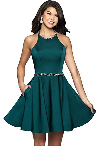 Icy Sun Women's Beaded Halter Short Homecoming Dresses A Line Satin with Pockets Prom Party Gowns ()