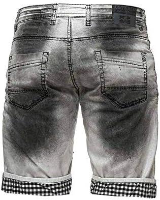 BLZ Jeans Short Bermuda Blanc en Jeans à Revers et Effet usé Noir pour Homme