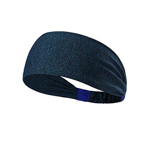 URIBAKE Women Elastic Headband Fitness Soft Cotton Turban Head Hair Warp Band Wide Sport Yoga Navy ()