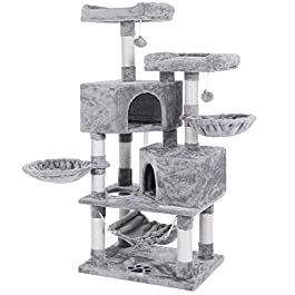 BEWISHOME Multi-Level Cat Tree Condo with Sisal Scratching Posts, Perches, Houses, Hammock and Baskets, Cat Tower Furniture Kitty Activity Center Kitten Play House MMJ05