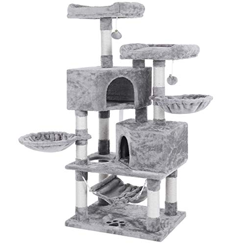 BEWISHOME Multi-Level Cat Tree Condo with Sisal Scratching Posts, Perches, Houses, Hammock and Baskets, Cat Tower Furniture Kitty Activity Center Kitten Play House Light Grey MMJ05G ()
