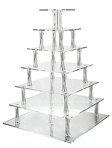 Jusalpha 7 Tier Square Elegant Strong Acrylic Glass Wedding Cake Stand- Cupcake Stand Tower/ Dessert Stand- Pastry Serving Platter-Food Display Stand For Big Event (Tier Square Tray)