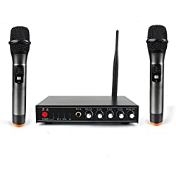 Professional Wireless Microphone System for Karaoke Machine with Receiver to Amplifier/Speaker & Dual Metal Handheld Dynamic Microphones & Antenna for Conference/Cell Phone/Karaoke/Party/KTV