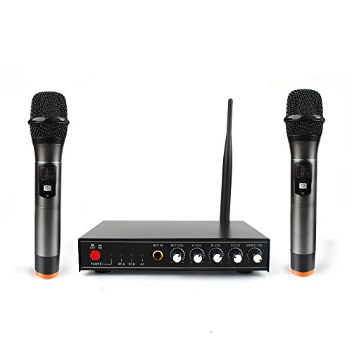 (Professional Wireless Microphone System for Karaoke Machine with Receiver to Amplifier/Speaker & Dual Metal Handheld Dynamic Microphones & Antenna for Conference/Cell Phone/Karaoke/Party/KTV)