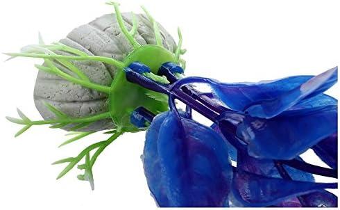 LQNB Planta Artificial Plastico Decoracion para Acuario Pecera Color Azul