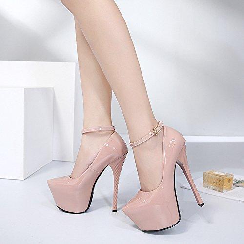 Easemax Womens Elegante Brunito Punta Rotonda Cinturino Fibbia Cinturino Alla Caviglia Con Tacco A Spillo Tacco Alto Scarpe Albicocca