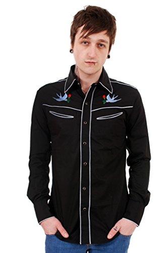 Slim Western Pearl Snap Shirt (Men's Run & Fly 50's 60's Tattoo Swallows Rockabilly Western Rodeo Shirt Medium)