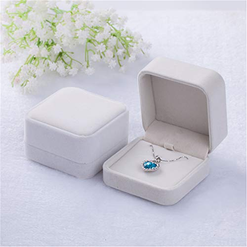 Tianying 2 Pack Velvet Ring Boxes, Earring Pendant Jewelry Case, Ring Earrings Gift Boxes, Jewellry Display (Cream, Pendant Box) ()