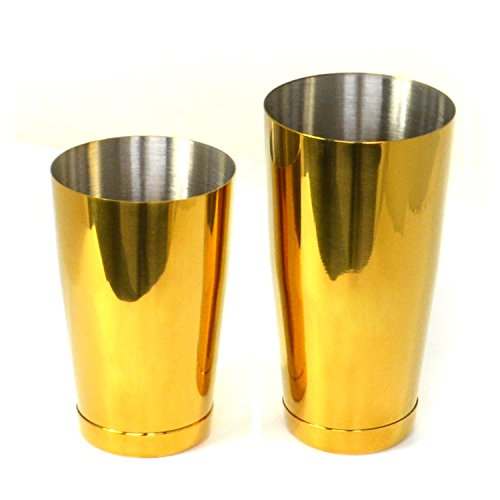 HAPPYNUTS Gold Cocktail Set, 28-Ounce and 18-Ounce Stainless Steel Boston Cocktail Shaker Tin Set with 2-Prong Strainer, Gold by HAPPYNUTS (Image #3)