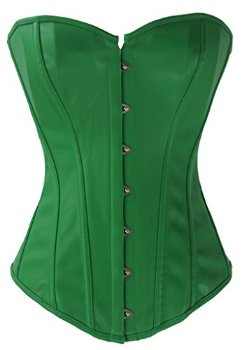 Alivila.Y Fashion Womens Sexy Steampunk Gothic Faux Leather Boned Corset 2340A-Green-6XL