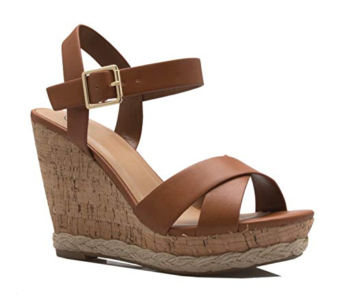 (OLIVIA K Women's Open Toe T-Straps Strappy High Wedge Heel Wood Decoration Buckle Shoes Sandals Tan)