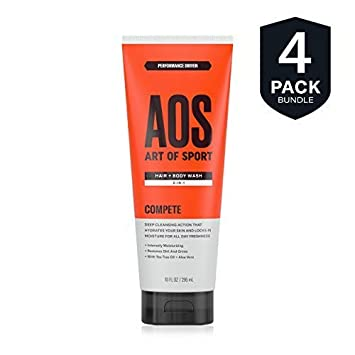 Art of Sport Hair and Body Wash 2-in-1 4-Pack, 10 oz with Tea Tree Oil and Aloe Vera, Compete Scent, Dermatologist-Tested, Paraben-Free, Hypoallergenic, Moisturizing Shampoo and Shower Gel