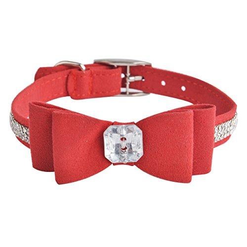 BINGPET Diamond Rhinestone Designer Collars Red