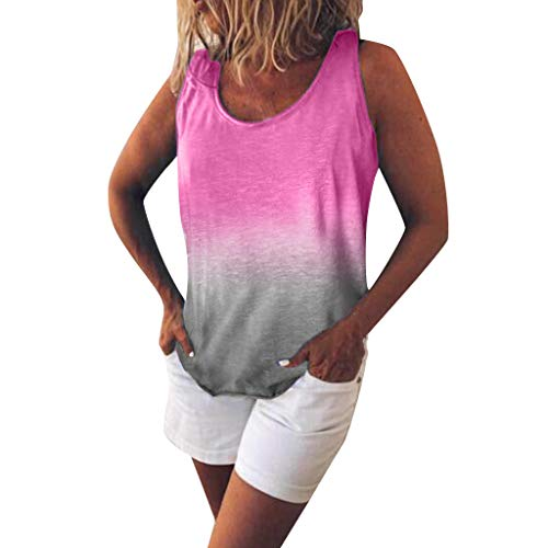 POQOQ Women's Fashion Casual O-Neck Gradient Contrast Color Sleeveless Vest Top(Hot Pink,XL)]()