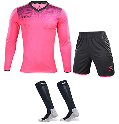 Goalkeeper Jersey Uniform Bundle - Set Includes Goalkeeper Shirt, Shorts and Socks - Professional Soccer Brand with Protection Pads on Shirt and Shorts. (Kids 12, Pink)