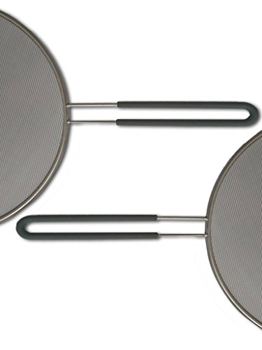 Outills Splatter Guard with Silicone Handle - 13 Inch Stainless Steel Twill Weave Mesh - Dishwasher Safe - Grease Splatter Screen for Frying Pan Protects Your Cooking Surface from Oil