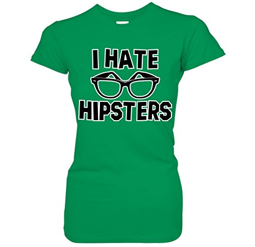 I Hate Hipsters - Hipster Glasses Silhouette Juniors T-Shirt (Medium - Hate Glasses Hipster I